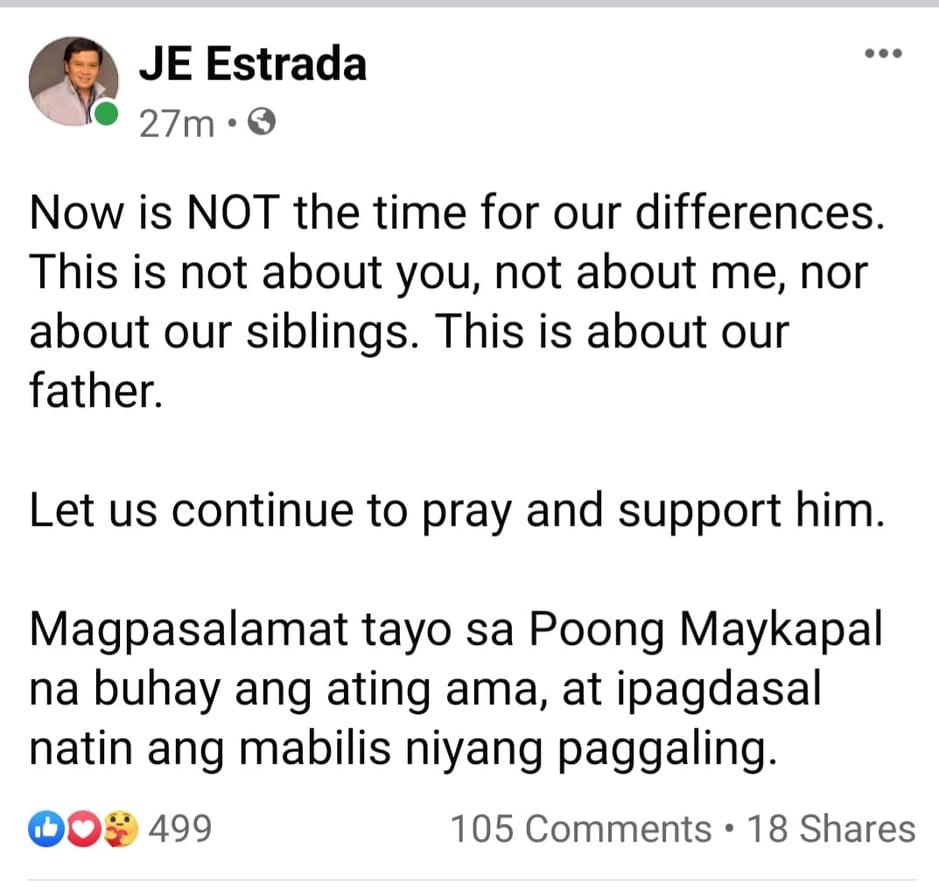 Facebook Post: Jinggoy Estrada subtle shade against JV Ejercito tweet