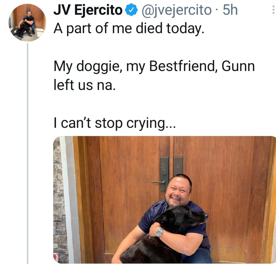 Twitter: JV Ejercito clarifies issue, posts photo with his deceased dog