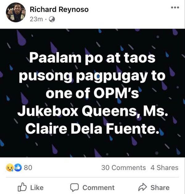 FB Post: Richard Reynoso pays tribute to Claire Dela Fuente