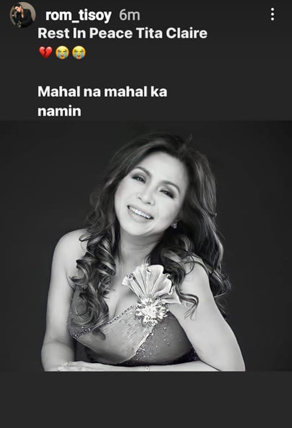 IG Story: Rommel Galido pays tribute to Claire Dela Fuente