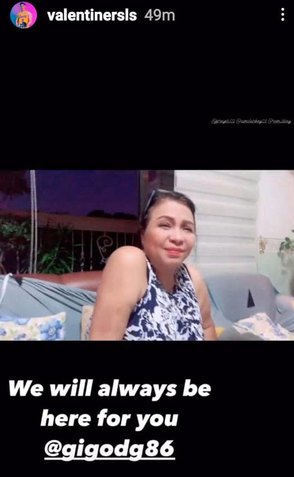 IG Story: Valentine Rosales condolences with Claire son Gigo