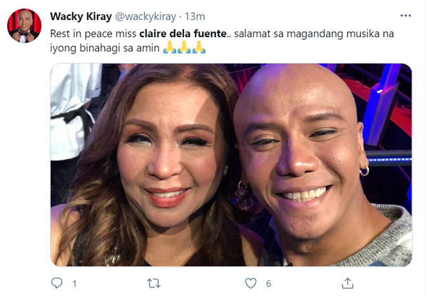 Twitter Post: Wacky Kiray pays tribute to Claire Dela Fuente