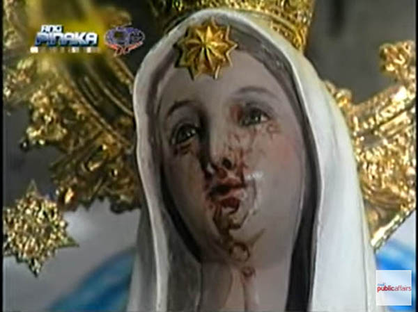 Virgin Mary image shedding tears of blood