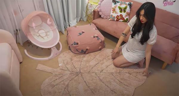 Youtube Vlog: nursery room bean bag chair and pink carpet