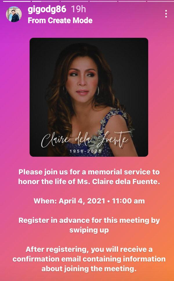 IG Stories: Gigo De Guzman details memorial service for Claire dela Fuente