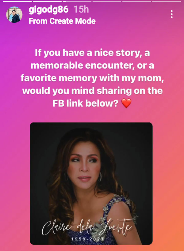 IG Stories: Gigo asks friends and fans to share stories about mom Claire