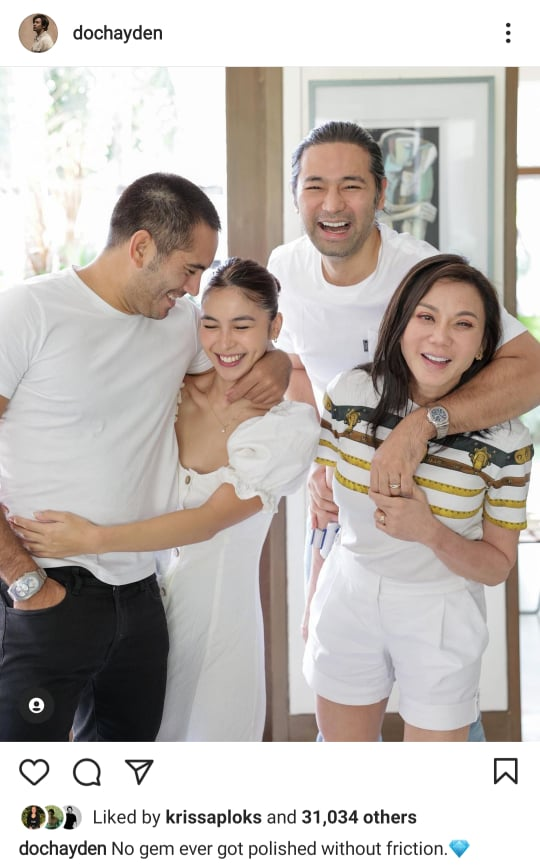 Gerald Anderson and Julia Barretto with Vicki Belo and Hayden Kho