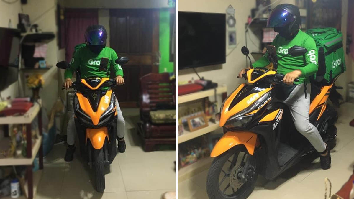 Delivery rider inside customer's home