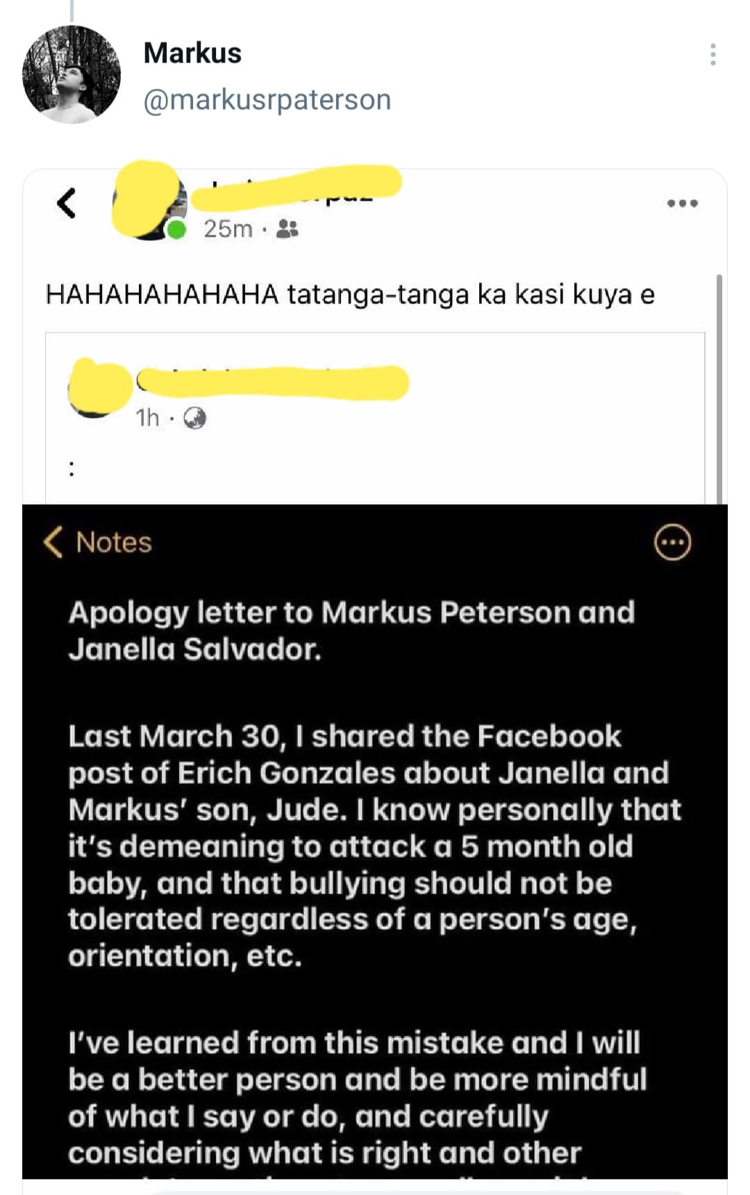 Markus Paterson posts apology letter of basher