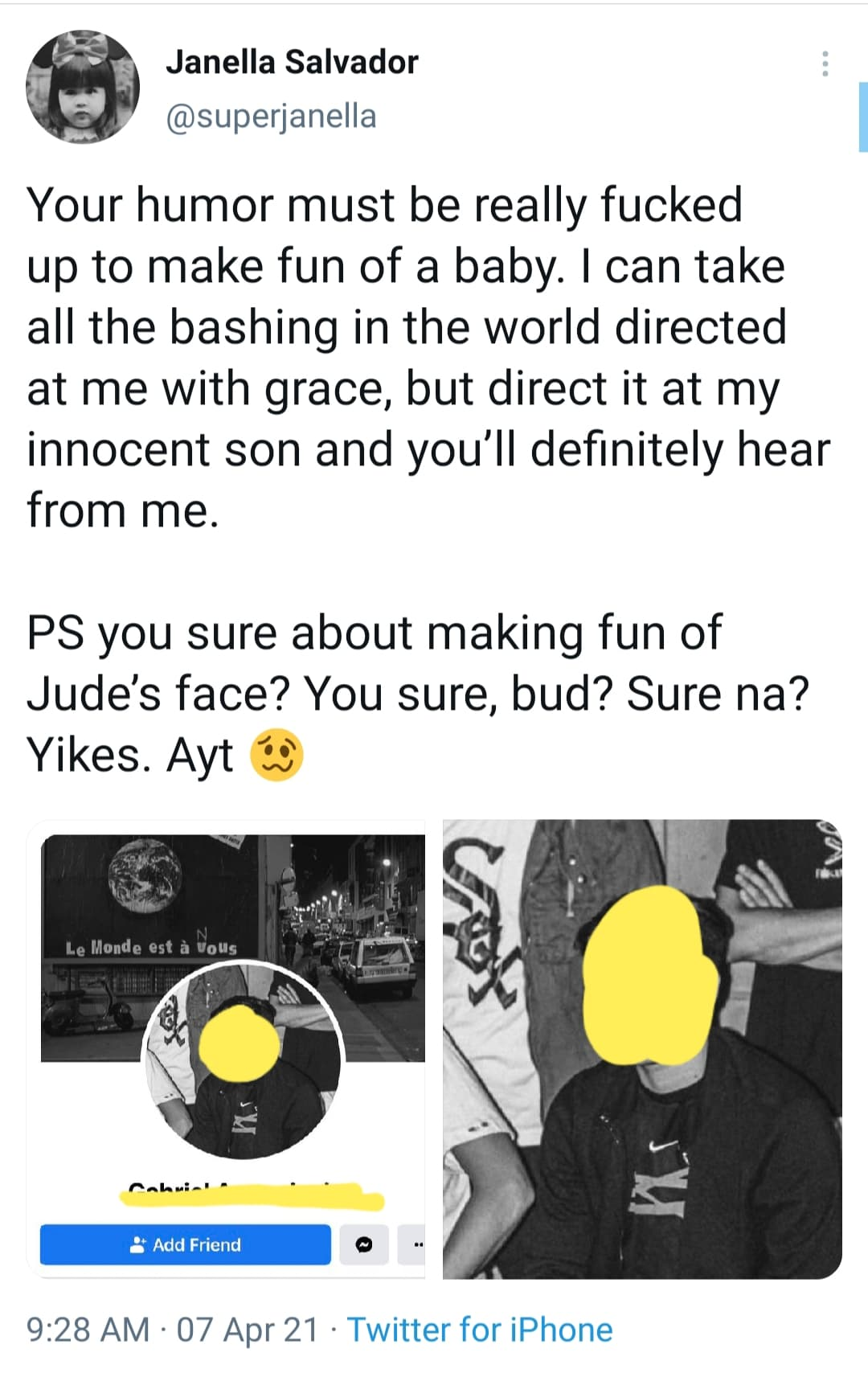 Twitter: Janella Salvador calls out and posts photo of baby jude basher