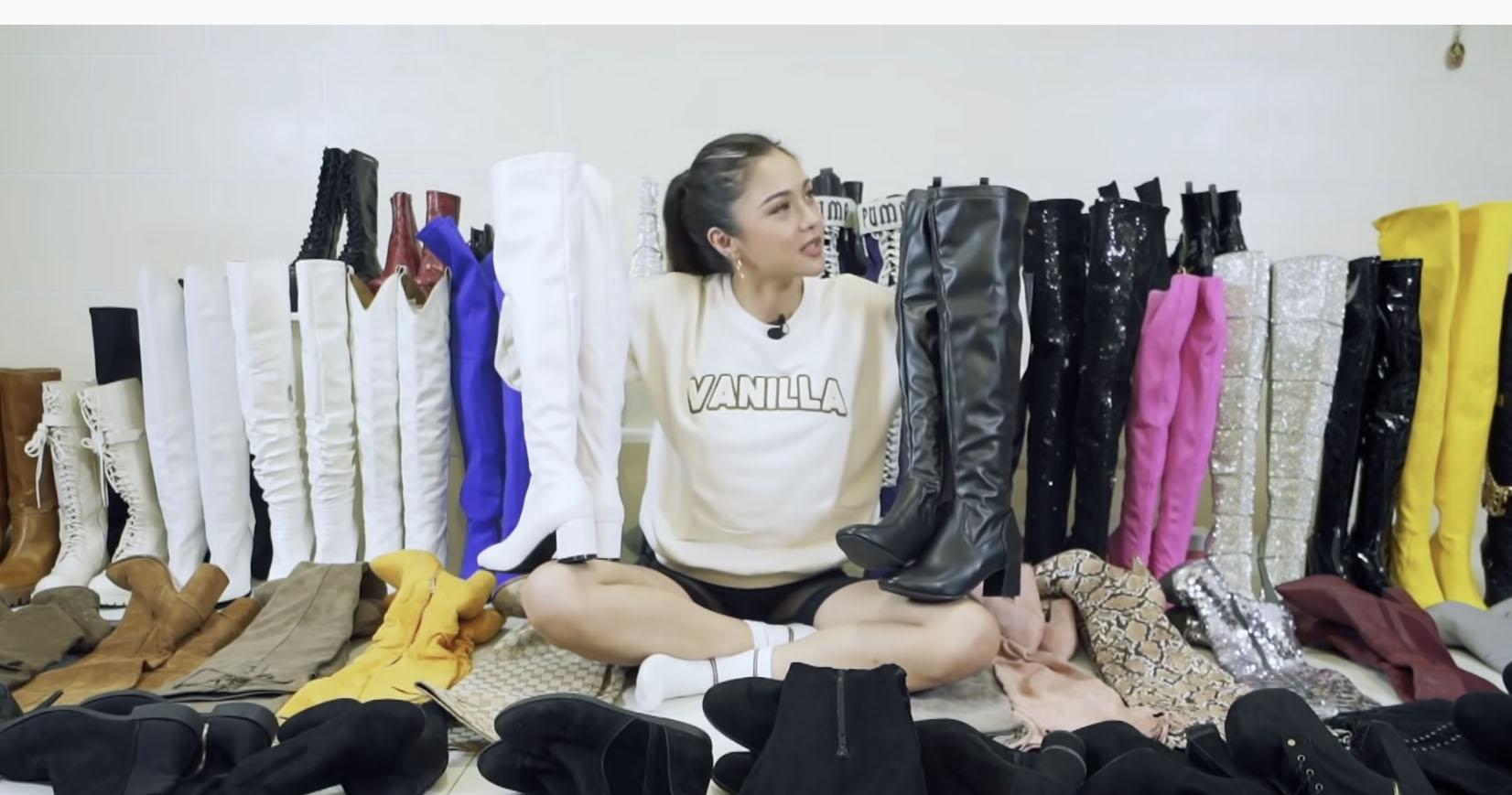 Youtube Vlog Screengrab: Kim Chiu boots collection