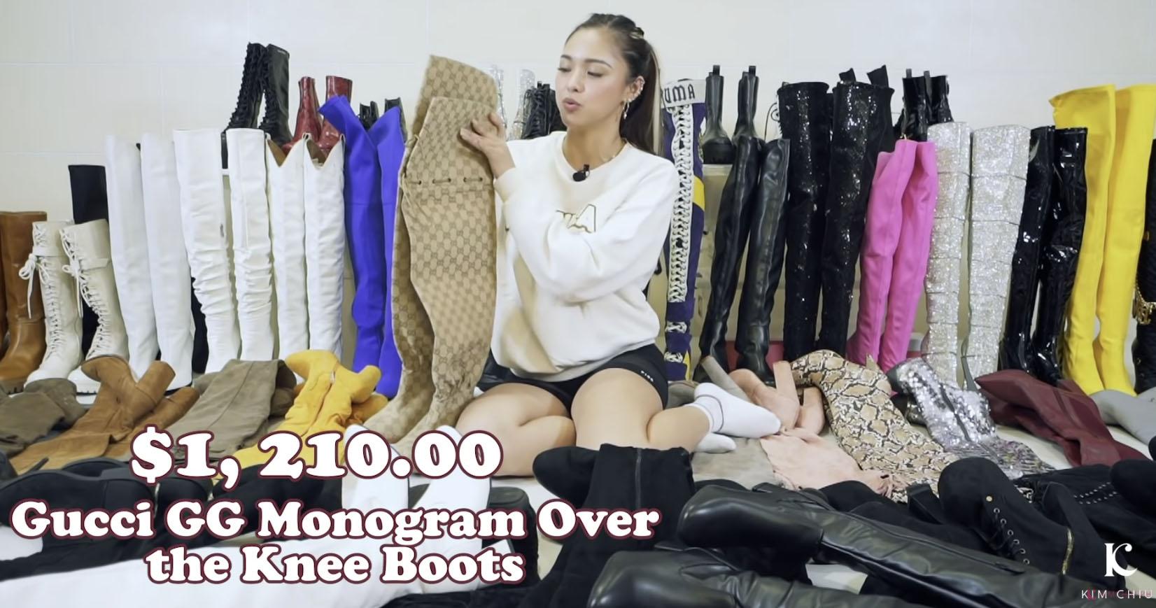 Youtube Vlog Screengrab: Kim Chiu Gucci GG Monogram over-the-knee boots