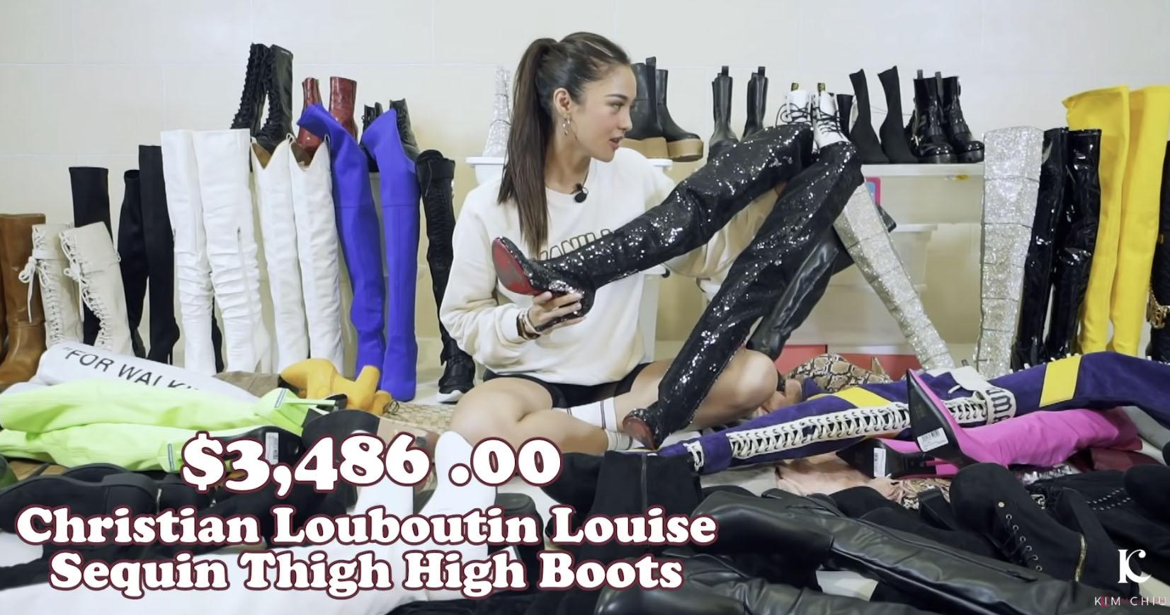 Youtube Vlog Screengrab: Kim Chiu Christian Louboutin Louise sequin thigh-high boots
