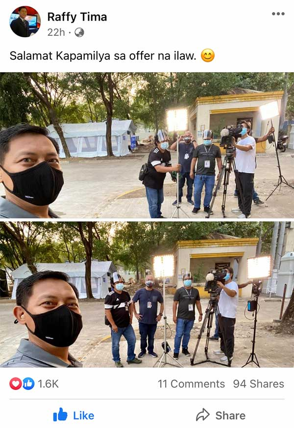 Raffy Tima thanks ABS-CBN crew