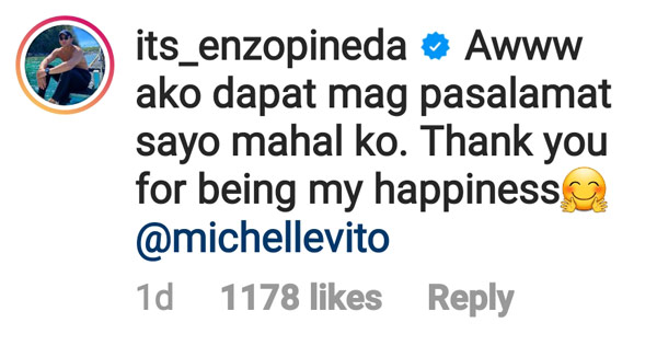 IG comment: Enzo Pineda thanks Michelle Vito for being his happiness