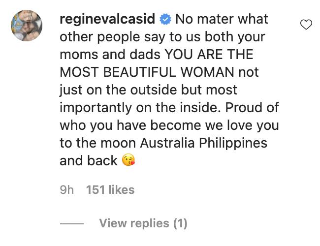 stepmom Regine Velasquez reply to Leila Alcasid IG post