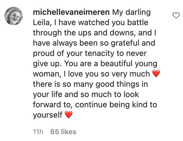 mom Michelle Van Eimeren comment to Leila Alcasid IG post
