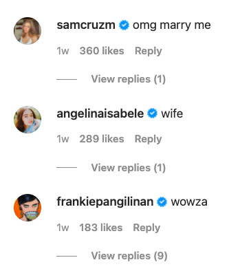 IG comment: Sam and Angelina Cruz, Frankie Pangilinan reply on Lorin swimsuit photo