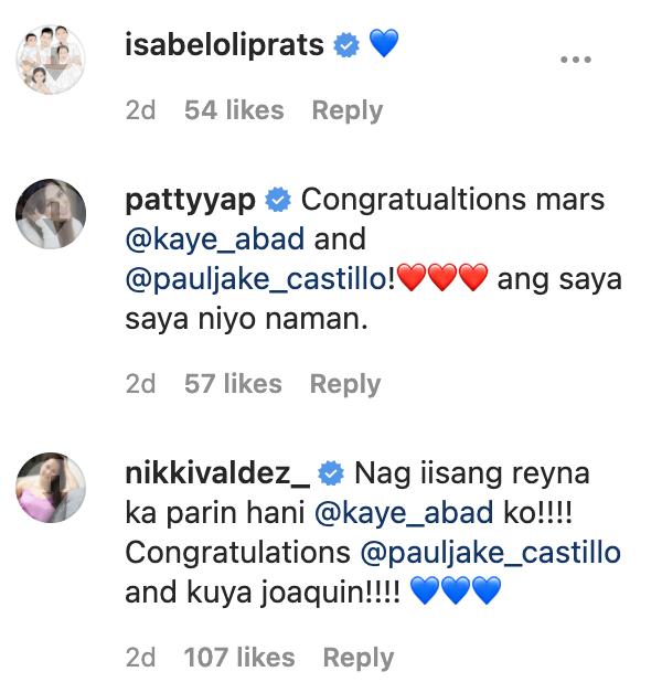IG Comments: Isabel Oli, Patty Yap, Nikki Valdez congratulate Kaye Abad and Paul Jake Castillo