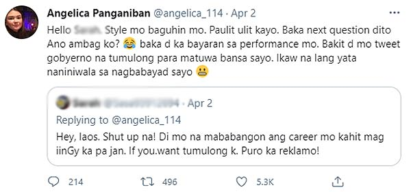 Angelica Panganiban clap back to laos comment