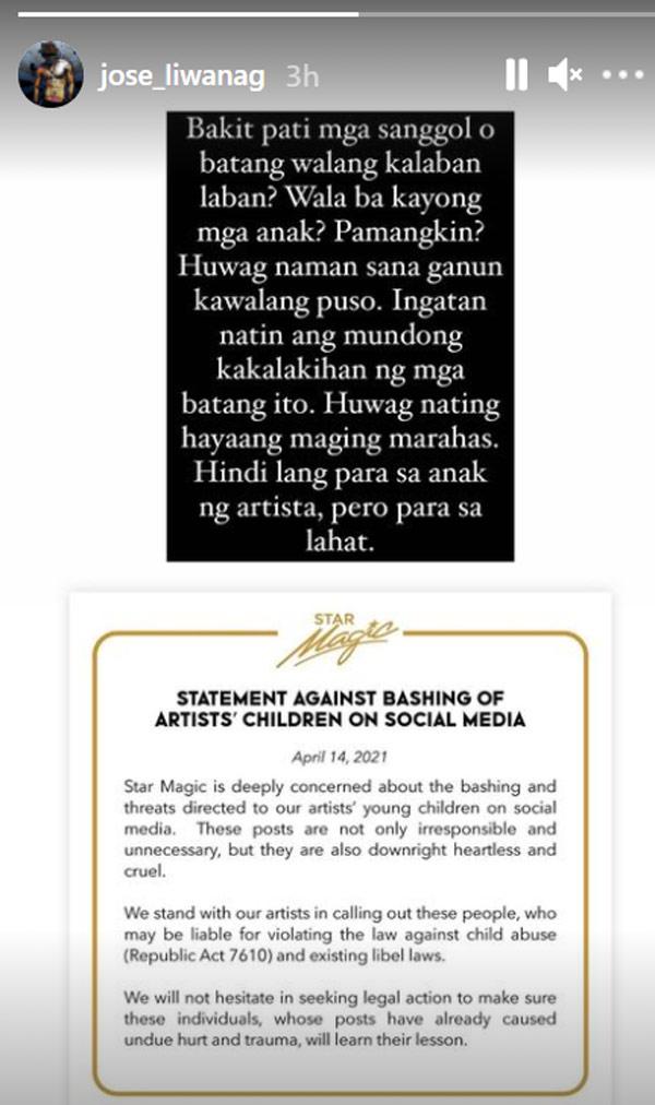 IG Story: Carlo Aquino reposts Star Magic statement