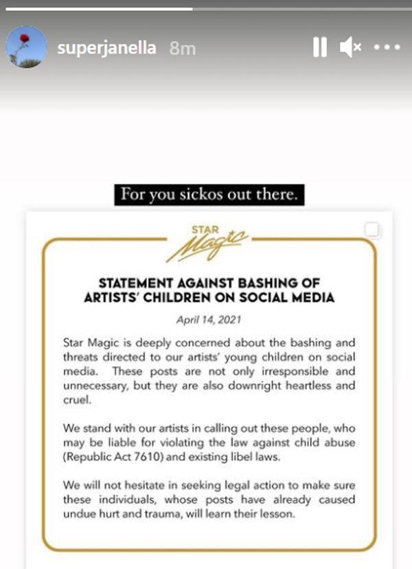 IG Story: Janella Salvador Star Magic statement