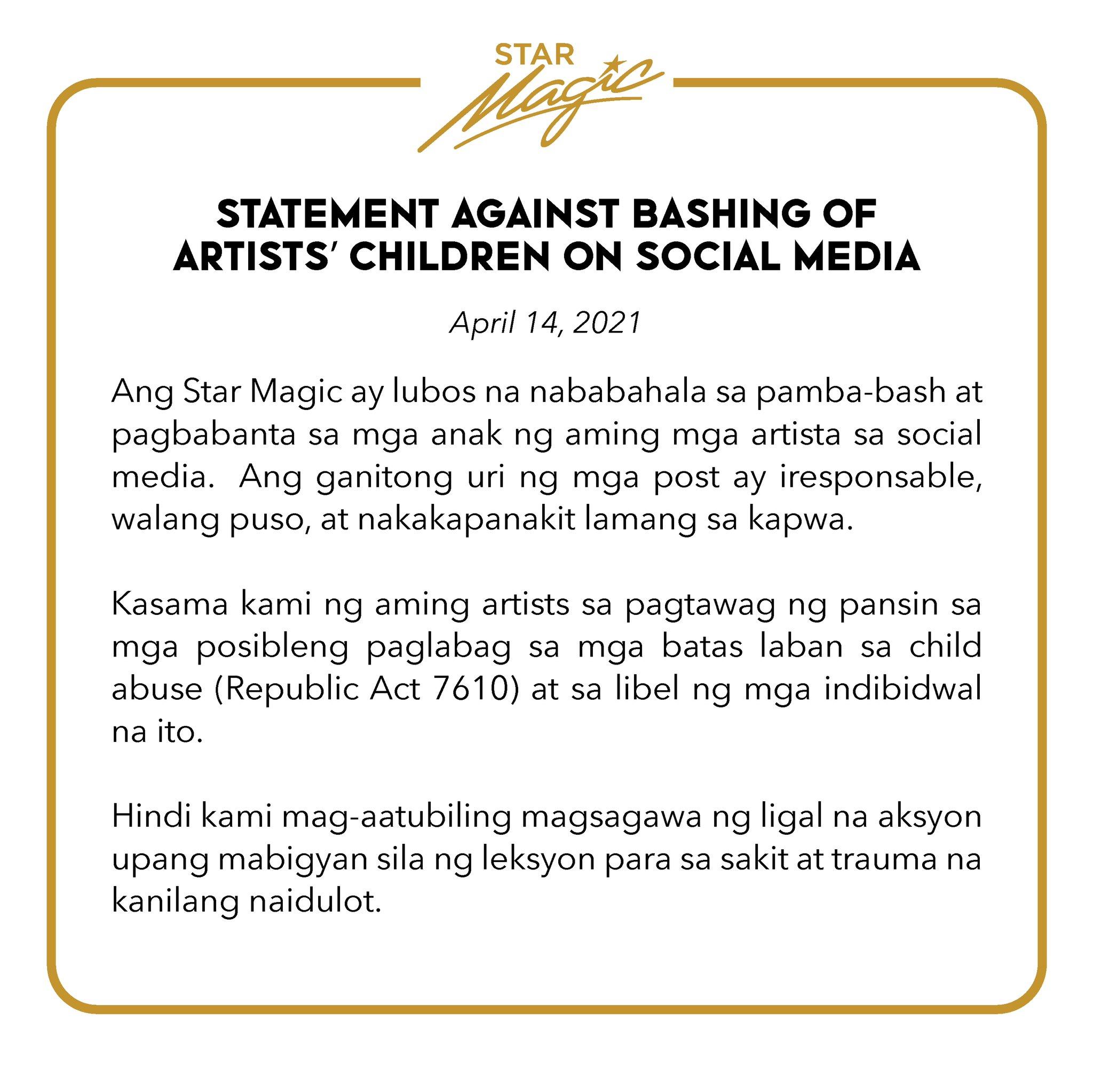 Star Magic statement against bashing of artist children on social media