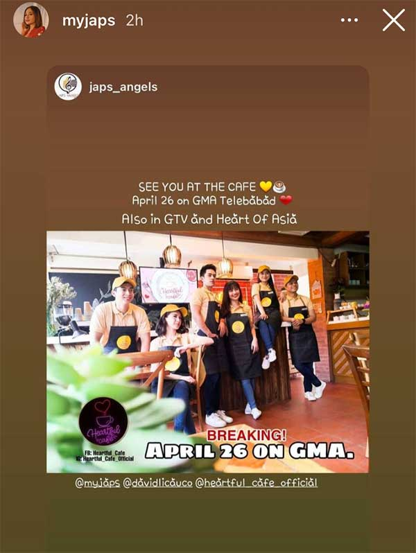 IG Stories: Julie Anne San Jose announces Heartful Cafe to air on GMA Telebabad