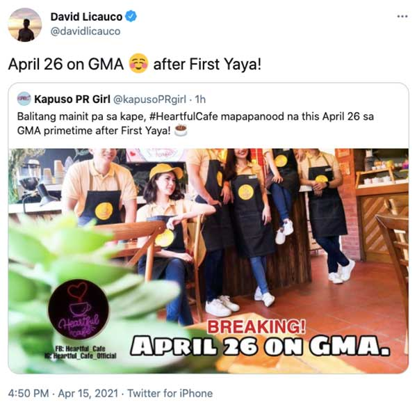 Twitter Post: David Licauco announces Heartful Cafe to air on GMA Telebabad