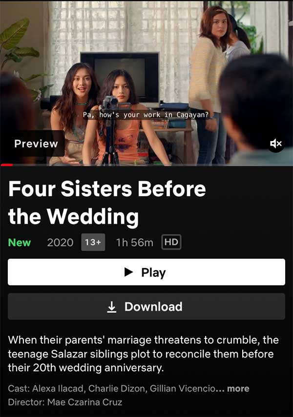 Four Sisters Before The Wedding on Netflix