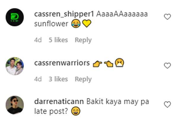 IG Comment: fans tease Cassy Legaspi and Darren Espanto