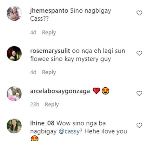 IG Comment: fans ask Cassy about the bouquet sender