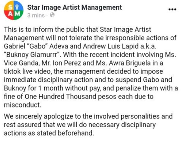 Star Image Artist Management official statemen on Buknoy, Gabo vs Awra, Vice Ganda, Ion Perez issue