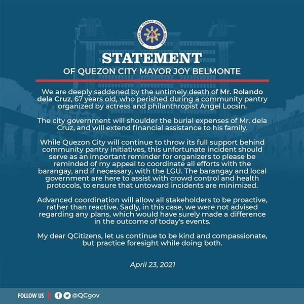 QC mayor Joy Belmonte official statement on senior citizen death at Angel Locsin pantry