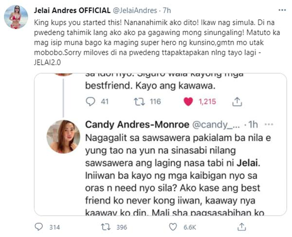 Twitter: Jelai Andres backs up sister Candy statement