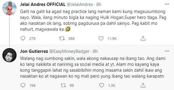Twitter: Jelai Andres replies to Jon Gutierrez, opens up about his good treatment to mistress