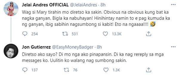 Twitter: Jelai Andres, Jon Gutierrez message exchange