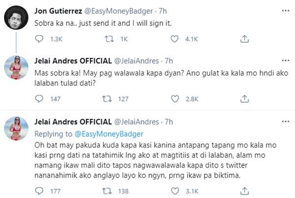 Twitter: Jelai Andres, Jon Gutierrez heated message exchange