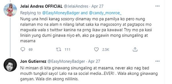 Twitter: Jon Gutierrez and Jelai Andres message exchange