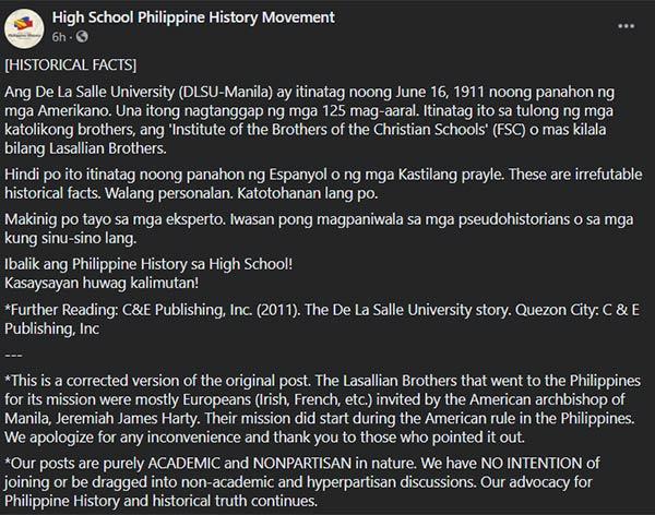 High School Philippine History Movement calls out Robin Padilla