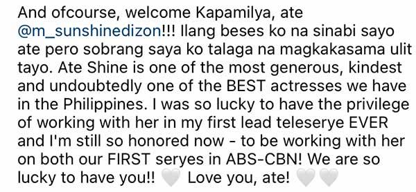 Janine Gutierrez welcomes Sunshine Dizon to ABS-CBN