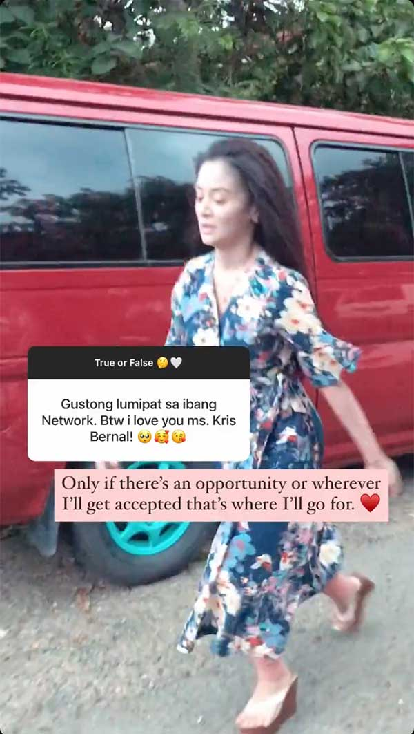 IG Stories: Kris Bernal answers network transfer question