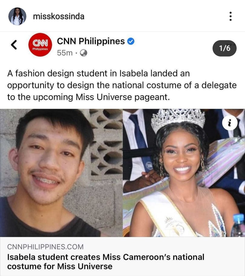 Miss Universe Cameroon Angèle Kossinda thanks Filipino designer Kennedy Jhon Gasper