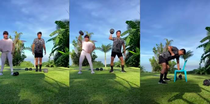 Camille Prats and husband VJ Yambao workout