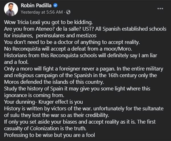 Robin Padilla DLSU wrong information