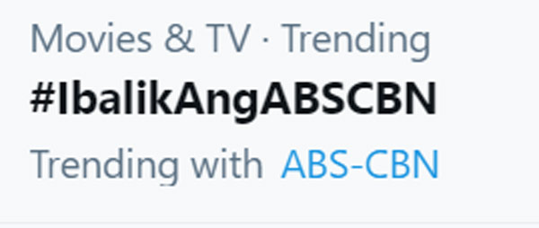 Ibalik Ang ABSCBN trends on Twitter