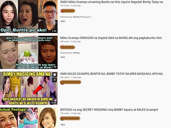 Miles Ocampo, Bimby Aquino fake Youtube videos about getting pregnant