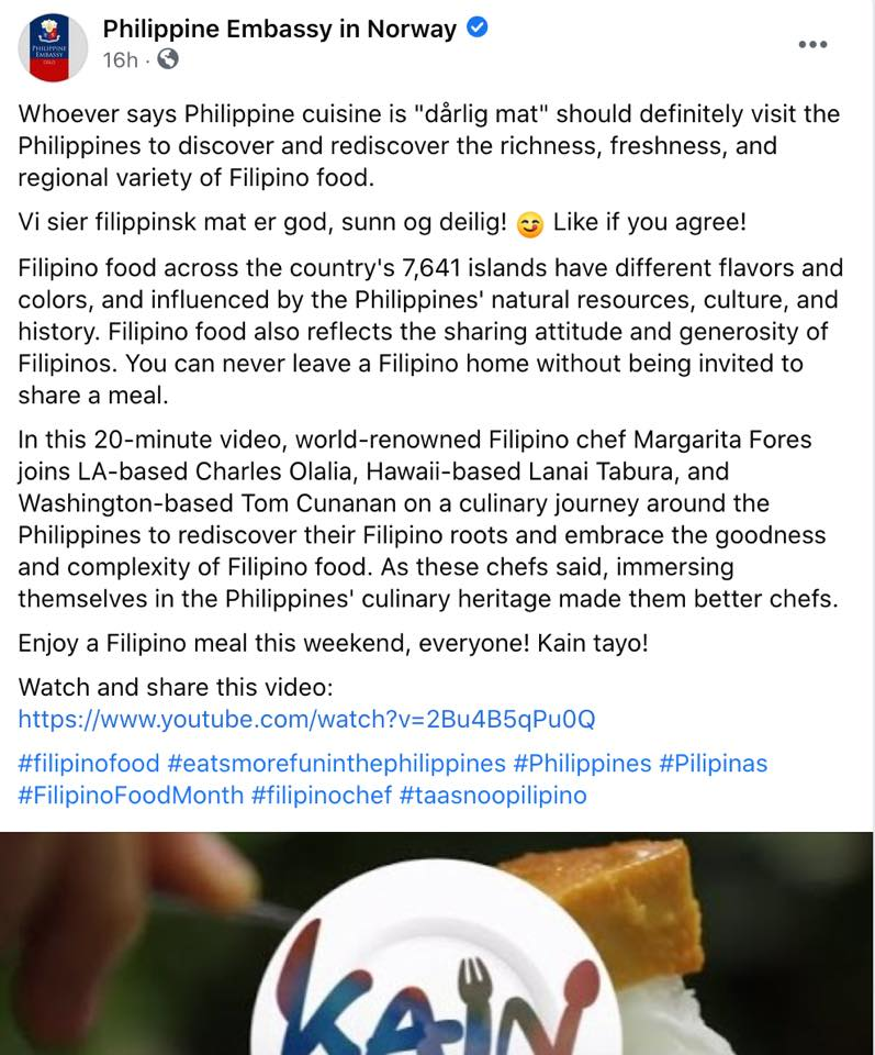 Philippine Embassy in Norway official statement