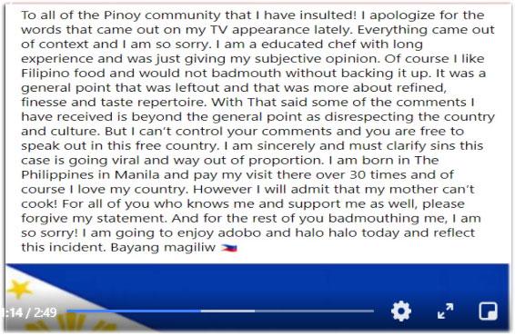 Jonathan Romano public apology