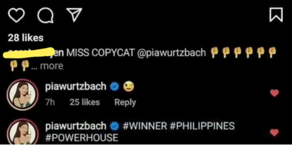 Pia Wurtzbach response to Miss Copycat comment